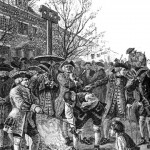 Protests of the Stamp Act.  British soldiers destroy non-stamp documents in order to enforce the Stamp Act.
