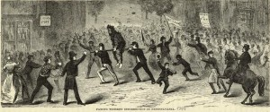 """Famous Whiskey Insurrection in Pennsylvania"", an 1880 illustration of a tarred and feathered tax collector being made to ride the rail.  Source: Wikepedia."