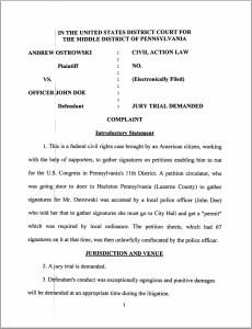 Ostrowski lawsuit page 1
