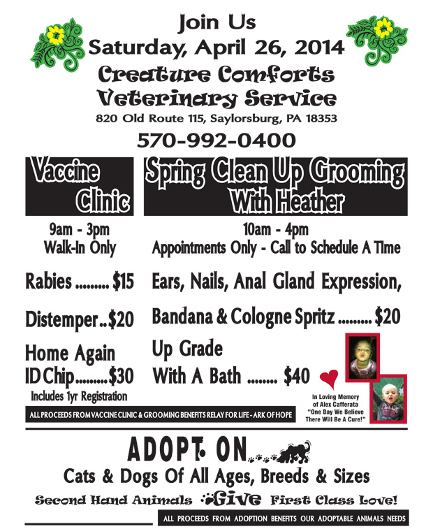 CCVS SPRING RABIES GROOMING ADOPTION.indd