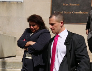 Ross and Solfanelli exiting the courthouse