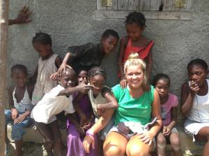 Valarie and kids in haiti