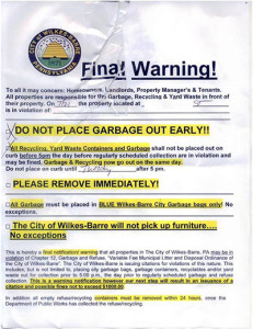 City trash warning