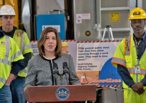 Acting PennDOT Secretary Leslie S. Richards calling on motorists to drive safely in work zones and be mindful of the people behind the cones